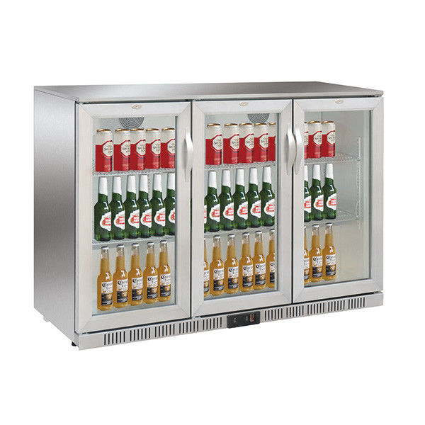 330L Three Doors Back Bar Cooler Auto Defrost Type With Easy Cleaning Gasket,Stainless Steel and 85/90mm Height