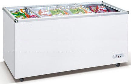 550L Commercial Chest Freezer With Top Open Sliding Two Flat Glass Door