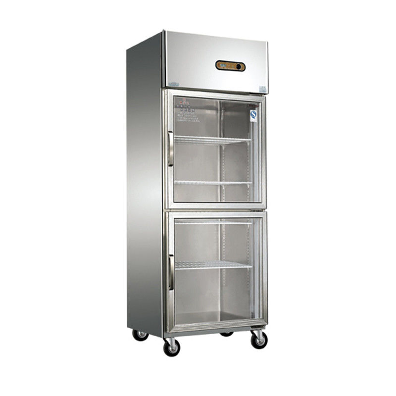 Upright Glass Door Commercial Kitchen Refrigerator Free Standing Installation