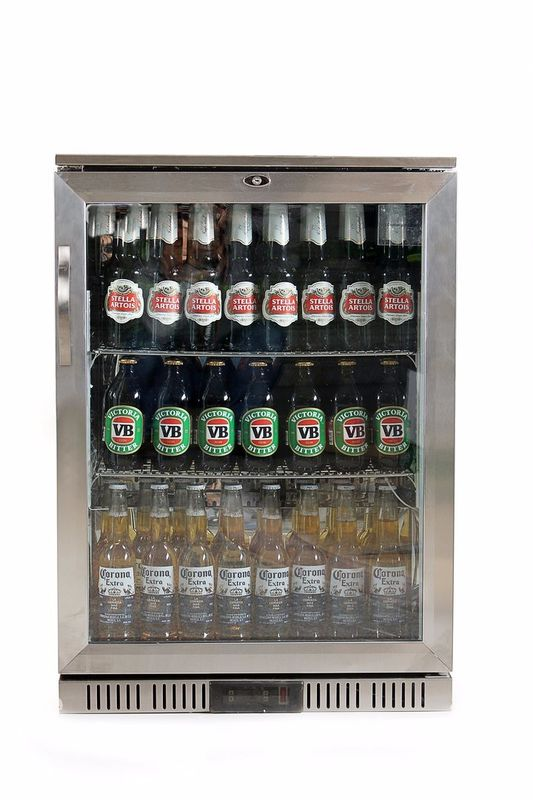850mm Height 128L Stainless Steel Back Bar Cooler External Digital Temperature Display